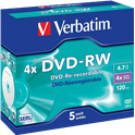 DVD-RW VERBATIM REGRABABLE JEWEL5UN 43285